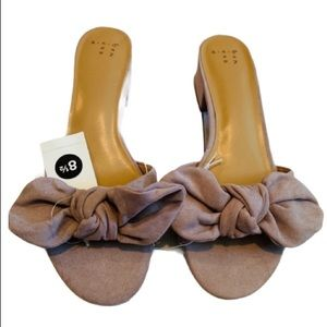 A New Day Women's Hyleta Knotted Bow Heeled Mules